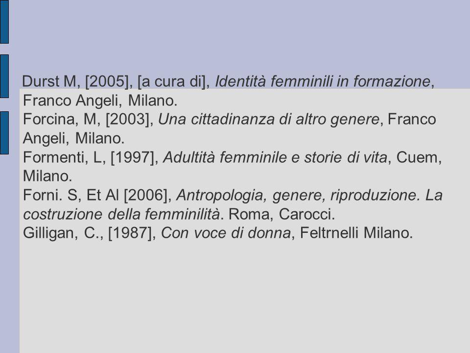 Durst M, [2005], [a cura di], Identità femminili in formazione, Franco Angeli, Milano.